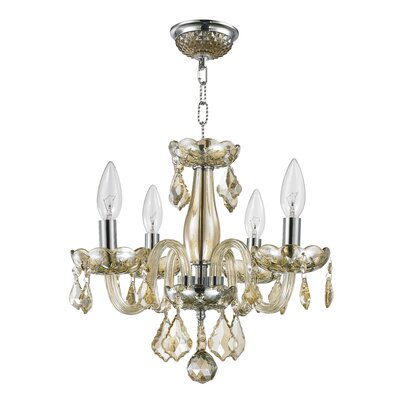 Weisser 4-Light Crystal Chandelier Finish: Golden Teak