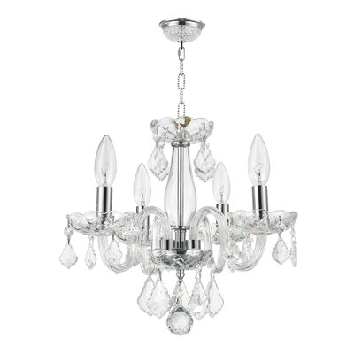 Weisser 4-Light Crystal Chandelier Finish: Clear