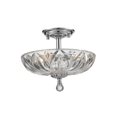 Nicolasa 3-Light Semi Flush Mount Finish: Clear, Size: 11 H x 16 W x 16 D