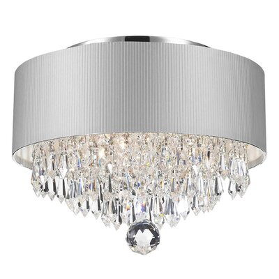 Carin Acrylic Crystal 3-Light Flush Mount Shade Color: Silver