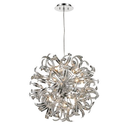 Stephenie 1 Tier Crystal 13-Light LED Geometric Pendant