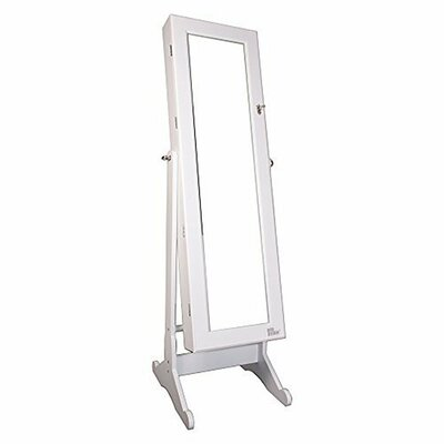Wooden Jewelry Armoire with Mirror Finish: White