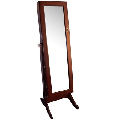 Wooden Jewelry Armoire with Mirror Finish: Brown