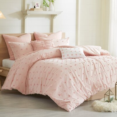 Sherry Cotton Duvet Set Size: Full/Queen, Color: Pink