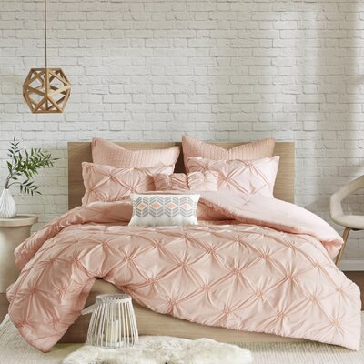 Siaosi Embroidered 7 Piece Comforter Set Size: Full/Queen, Color: Pink