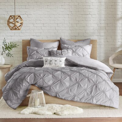 Siaosi Embroidered 7 Piece Duvet Set Size: King/California King, Color: Gray