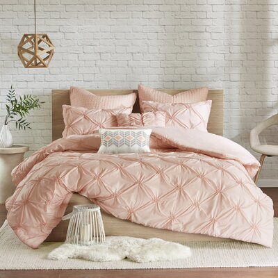 Siaosi Embroidered 7 Piece Duvet Set Size: King/California King, Color: Pink