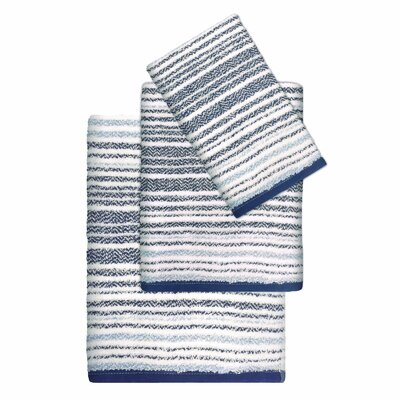Paxton Cotton Striped 3 Piece Towel Set Color: Blue