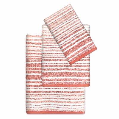Paxton Cotton Striped 3 Piece Towel Set Color: Coral