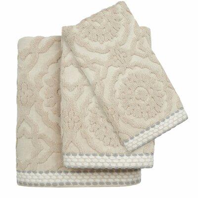 Andrea Cotton Jacquard 3 Piece Towel Set