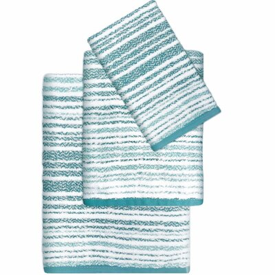 Paxton Cotton Striped 3 Piece Towel Set Color: Aqua