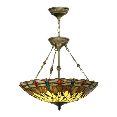 Corrall Dragonfly 2-Light Bowl Pendant