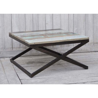 Recycled Wood End Table Table Size: 35.4 L x 35.4 W