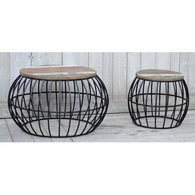 Iron Barrel Cage 2 Piece Coffee Table Set