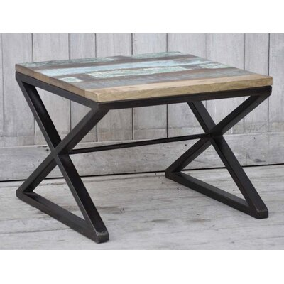 Recycled Wood End Table Table Size: 23.6 L x 23.6 W