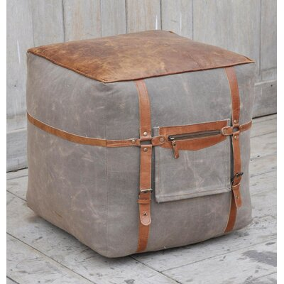 Grieve Leather Pouf Upholstery: Gray