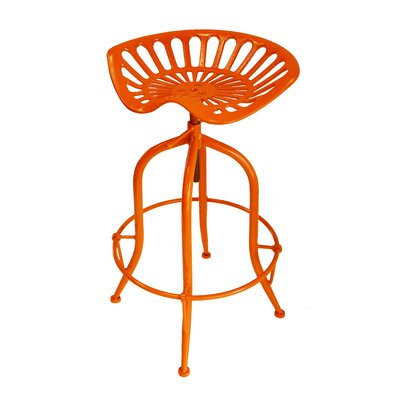 Sula Adjustable Height Swivel Bar Stool Color: Orange