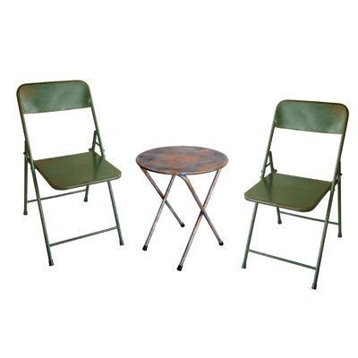 Odin Rustic Folding Classic 3 Piece Bistro Set Finish: Antique Green