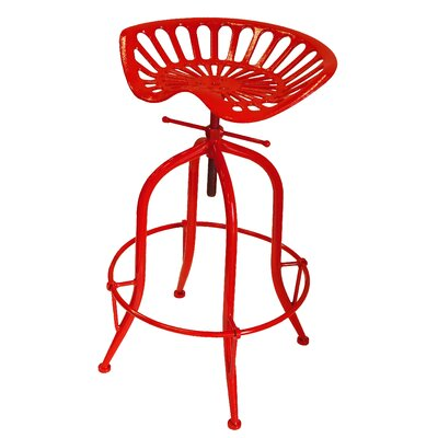 Sula Adjustable Height Swivel Bar Stool Color: Red