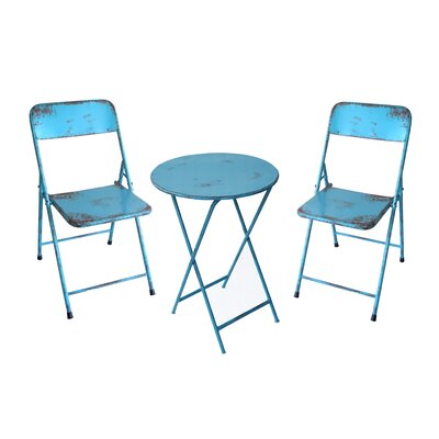 Odin Rustic Folding Classic 3 Piece Bistro Set Finish: Antique Blue
