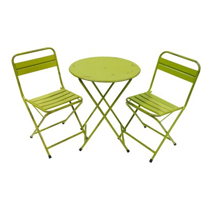 Odin Rustic Folding 3 Piece Bistro Set Finish: Green