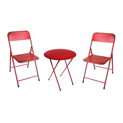 Odin Rustic Folding Classic 3 Piece Bistro Set Finish: Red
