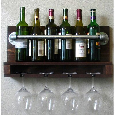 Darcie Industrial Pipe 6 Bottle Wall Mounted Wine Bottle Rack