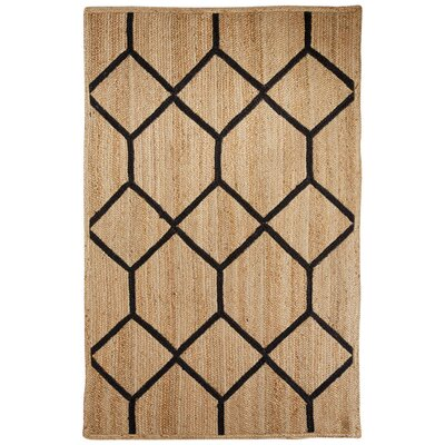 Subra Natural/Black Area Rug Rug Size: Rectangle 5 x 8