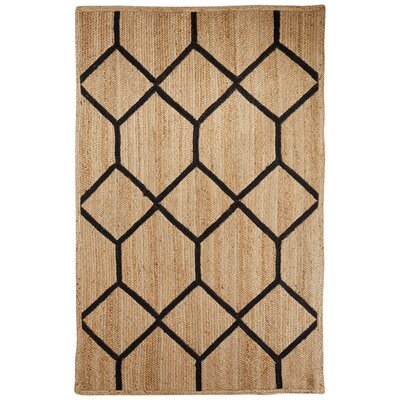 Subra Natural/Black Area Rug Rug Size: 9 x 12