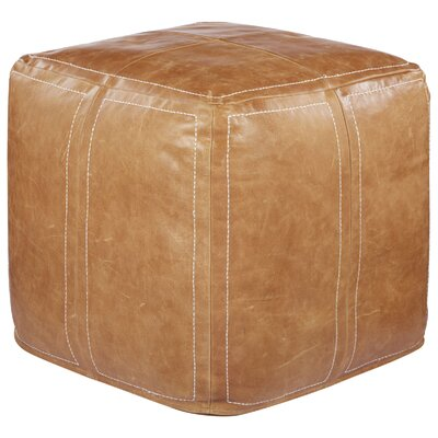 Ultra By Nikki Chu Leather Pouf Upholstery: Brown