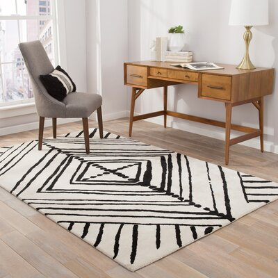 Gemma Geometric Handmade White Area Rug Rug Size: Rectangle 5 x 8