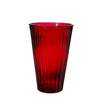 Ribbed Glass Vase Color: Red VM16040002-2