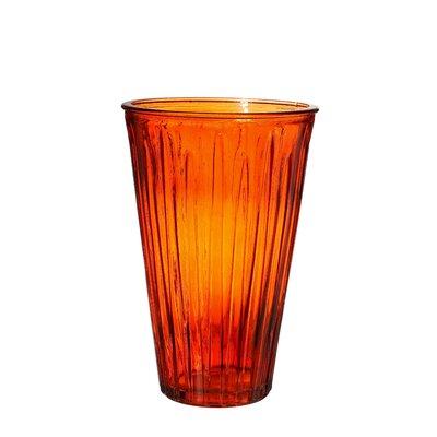 Flynn Ribbed Glass Vase Color: Orange EBDG2720 42962633