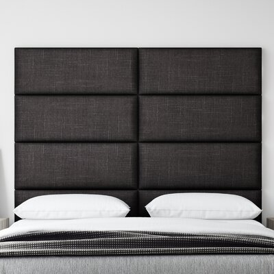 Upholstered Panel Headboard Upholstery: Black Denim, Size: 46 H x 30 W x 3 D