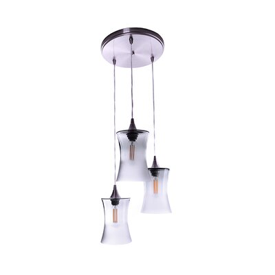 3-Light Cascade Pendant Finish: Steel Blue