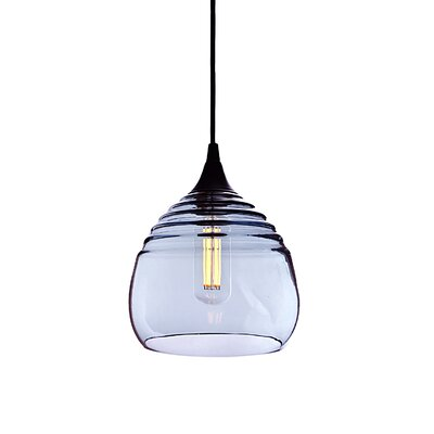 Segers 1-Light Mini Pendant Finish: Black, Shade Color: Steel Blue