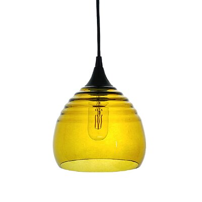 Segers 1-Light Mini Pendant Finish: Black, Shade Color: Amber