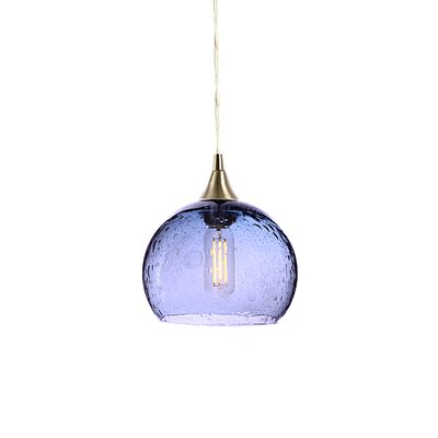 Wilcher 1-Light Mini Pendent Finish: Brushed Nickel, Shade Color: Steel Blue