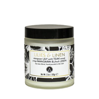 Aestheticcontent Lilies And Linen Scented Soy Jar Candle