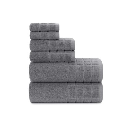Dobby Check Double 6 Piece Towel Set Color: Steel Gray
