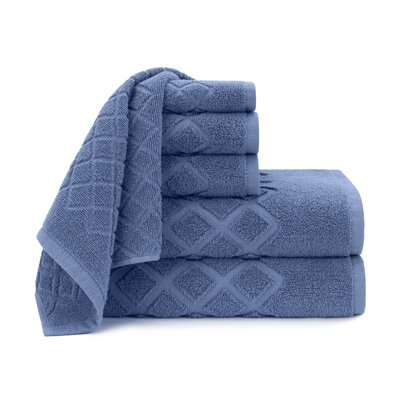 Diamond Jacquard 6 Piece Towel Set Color: Blue Yonder