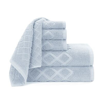 Diamond Jacquard 6 Piece Towel Set Color: Cashmere Blue