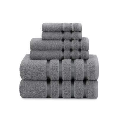 Viscose Stripe 6 Piece Towel Set Color: Steel Gray