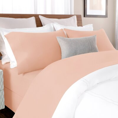 100% Cotton Solid Percale Sheet Set Size: Full, Color: Blush