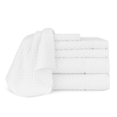 Jacquard Bars 6 Piece Towel Set Color: White