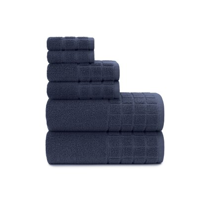 Dobby Check Double 6 Piece Towel Set Color: Mood Indigo
