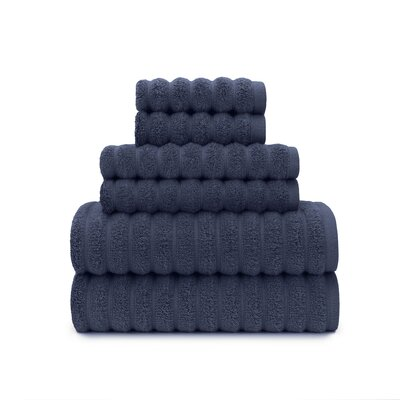 Zero Twist High Low Rib 6 Piece Towel Set Color: Mood Indigo