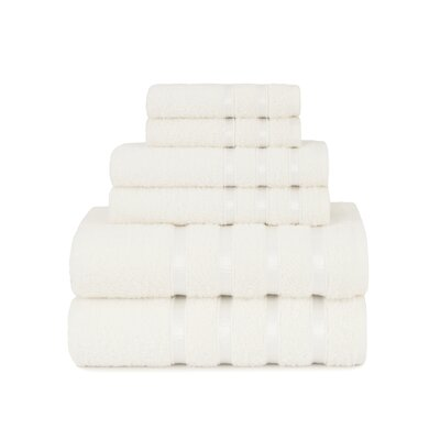 Viscose Stripe 6 Piece Towel Set Color: Cloud Dancer