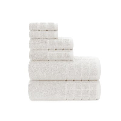 Dobby Check Double 6 Piece Towel Set Color: White Sand