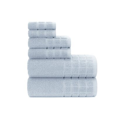 Dobby Check Double 6 Piece Towel Set Color: Cashmere Blue